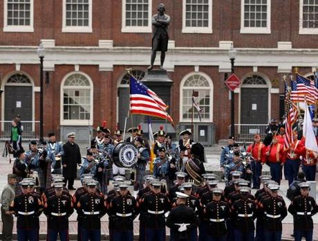 BOSTON ,MA 02/ 17/ 2012:Start of the parade at Faneuil Hall marching to the State House for annual Iwo Jima commemoration. ( David L Ryan / Globe Staff Photo ) SECTION: METRO TOPIC :23weiwo REPORTER